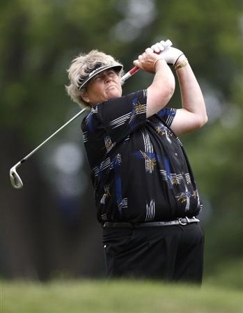 SYLVANIA, OH - JULY 03: Laura Davies of England hits from the first fairway during the second round of the Jamie Farr Owens Corning Classic at Highland Hills Golf Club on July 3, 2009 in Sylvania, Ohio. (Photo by Gregory Shamus/Getty Images)
