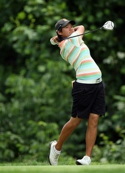 HAVRE DE GRACE, MD - JUNE 04:  Yani Tseng of Taiwan hits her tee shot at the 9th hole during practice for the 2008 McDonald's LPGA Championship held at Bulle Rock Golf Course, on June 4, 2008 in Havre de Grace, Maryland.  (Photo by David Cannon/Getty Images)