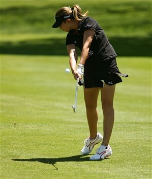 CORNING, NY - MAY 25:   Erica Blasberg hits her second shot on the first hole during the final round of the LPGA Corning Classic at Corning Country Club on May 25, 2008 in Corning, New York.  (Photo by Kyle Auclair/Getty Images)