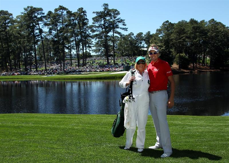 AUGUSTA, GA - APRIL 06:  Ian Poulter poses with his mother Theresa during the Par 3 Contest prior to the 2011 Masters Tournament at Augusta National Golf Club on April 6, 2011 in Augusta, Georgia.  (Photo by Andrew Redington/Getty Images)