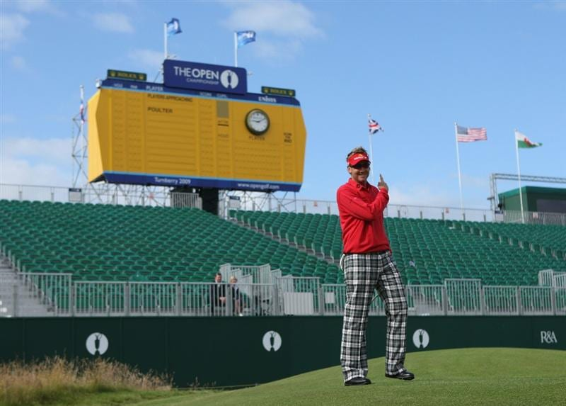 TURNBERRY, SCOTLAND - JULY 14:  Ian Poulter of England points to a scoreboard during a practice round prior to the 138th Open Championship on July 14, 2009 on the Ailsa Course, Turnberry Golf Club, Turnberry, Scotland.  (Photo by Andrew Redington/Getty Images)