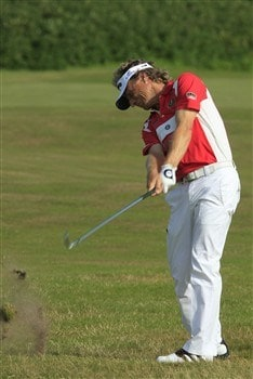 TROON, UNITED KINGDOM - JULY 25: Bernhard Langer  of Germany in action on the 1st hole during the second round of the Senior Open Championships at Royal Troon on July 25, 2008 in Troon, Scotland. (Photo by Phil Inglis/Getty Images)