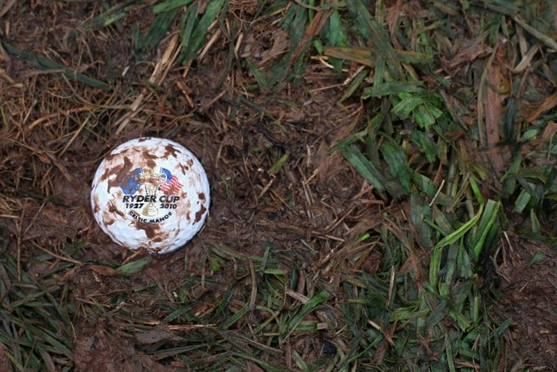 NEWPORT, WALES - OCTOBER 03:  03:   In this photo illustration a golf ball rests in standing water and mud during the weather delay prior to the restart of the Fourball & Foursome Matches during the 2010 Ryder Cup at the Celtic Manor Resort on October 3, 2010 in Newport, Wales. (Photo Illustration by Jamies Squire/Getty Images)