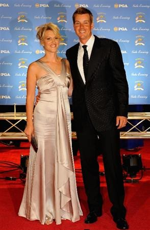 LOUISVILLE, KY - SEPTEMBER 17:  Henrik Stensen of Sweden and the European Ryder Cup team poses with his wife Emma arrive on the red carpet for the Ryder Cup Gala dinner prior to the start of the 2008 Ryder Cup September 17, 2008 in Louisville, Kentucky.  (Photo by Sam Greenwood/Getty Images)
