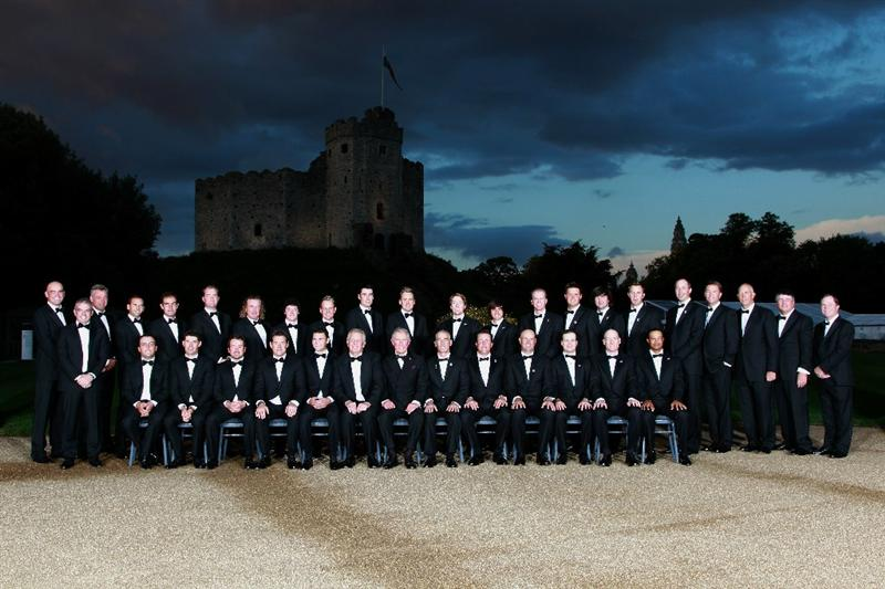 CARDIFF, WALES - SEPTEMBER 29:  The European and United States Ryder Cup teams pose for an official photograph with HRH Prince Charles, The Prince of Wales before the 2010 Ryder Cup Dinner at Cardiff Castle on September 29, 2010 in Cardiff, Wales.  (Photo by Andrew Redington/Getty Images)