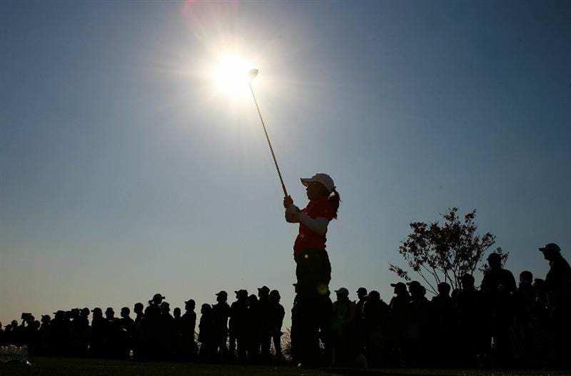 INCHEON, SOUTH KOREA - OCTOBER 30:  Mika Miyazato of Japan hits a tee shot on the 16th hole during the 2010 LPGA Hana Bank Championship at Sky 72 Golf Club on October 30, 2010 in Incheon, South Korea.  (Photo by Chung Sung-Jun/Getty Images)