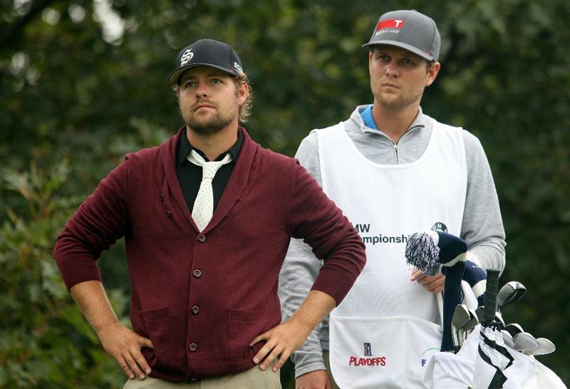 LEMONT, IL - SEPTEMBER 11:  Ryan Moore and his caddie/brother Jason Moore look on from the 16th tee during the third round of the BMW Championship at Cog Hill Golf & Country Club on September 11, 2010 in Lemont, Illinois.  (Photo by Scott Halleran/Getty Images)