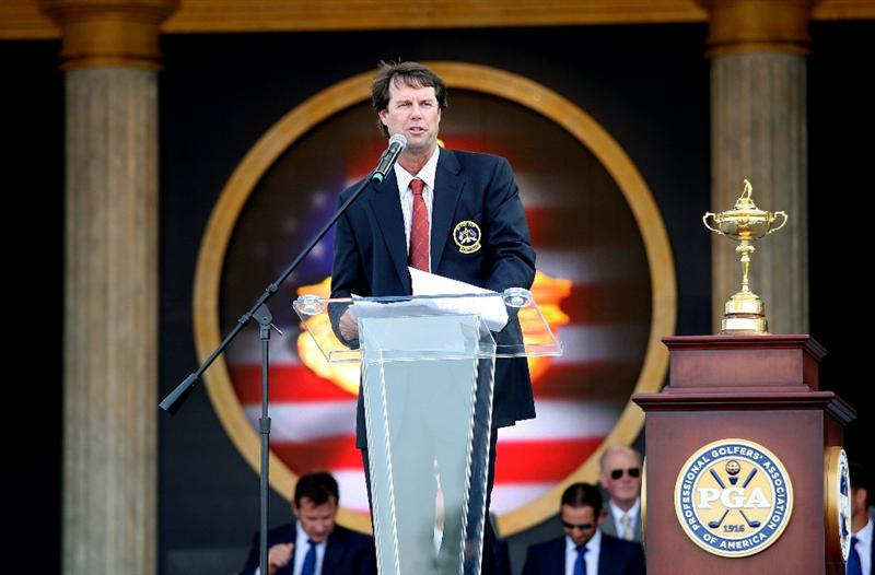 LOUISVILLE, KY - SEPTEMBER 18:  Captain Paul Azinger of the USA team speaks to the crowd during the opening ceremony for the 2008 Ryder Cup at Valhalla Golf Club on September 18, 2008 in Louisville, Kentucky.  (Photo by David Cannon/Getty Images)