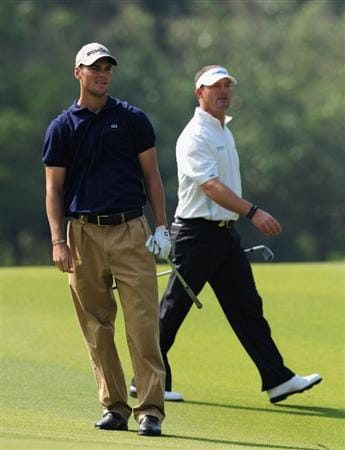 SHENZHEN, GUANGDONG - NOVEMBER 24:  Martin Kaymer and Alex Cejka of Germany look on during practice for the Omega Mission Hills World Cup on the Olazabal course on November 24, 2009 in Shenzhen, China.  (Photo by Stuart Franklin/Getty Images)