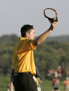 Ben Curtis reacts after sinking the final putt to win the 84 LUMBER Classic held on the Mystic Rock Course at Nemacolin Woodlands Resort & Spa in Farmington, Pennsylvania, on September 17, 2006.Photo by Hunter Martin/WireImage.com