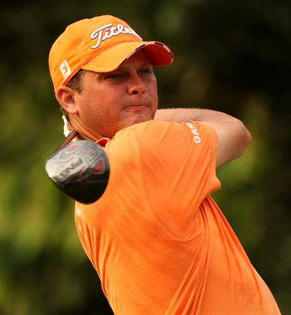 KUALA LUMPUR, MALAYSIA - MARCH 07:  Guido Van Der Valk of The Netherlands hits his tee-shot on the second hole during the final round of the Maybank Malaysia Open at the Kuala Lumpur Golf & Country on March 7, 2010 in Kuala Lumpur, Malaysia.  (Photo by Ross Kinnaird/Getty Images)