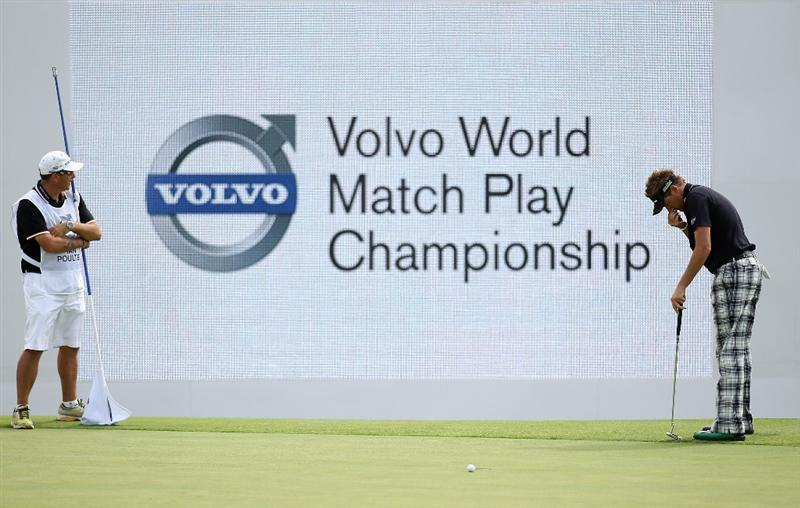 CASARES, SPAIN - MAY 20:  Ian Poulter of England reacts to a missed putt to win his match against Paul Lawrie of Scotland on the 18th green during the group stages of the Volvo World Match Play Championships at Finca Cortesin on May 20, 2011 in Casares, Spain.  (Photo by Warren Little/Getty Images)