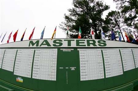 AUGUSTA, GA - APRIL 08:  The main scoreboard is seen during the second day of practice prior to the start of the 2008 Masters Tournament at Augusta National Golf Club on April 8, 2008 in Augusta, Georgia.  (Photo by Harry How/Getty Images)