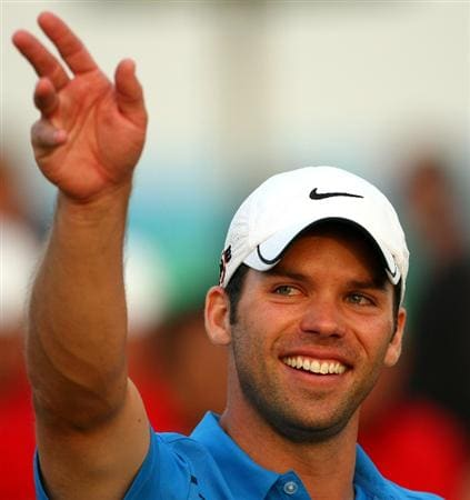 ABU DHABI, UNITED ARAB EMIRATES - JANUARY 18:  Paul Casey of England celebrates on the 18th green after winning The Abu Dhabi Golf Championship at Abu Dhabi Golf Club on January 18, 2009 in Abu Dhabi, United Arab Emirates.  (Photo by Andrew Redington/Getty Images)