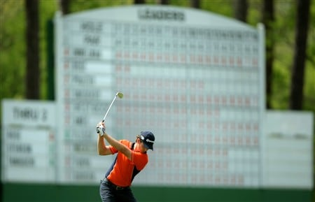 AUGUSTA, GA - APRIL 11:  Justin Rose of England hits his second shot on the third hole during the second round of the 2008 Masters Tournament at Augusta National Golf Club on April 11, 2008 in Augusta, Georgia.  (Photo by Harry How/Getty Images)
