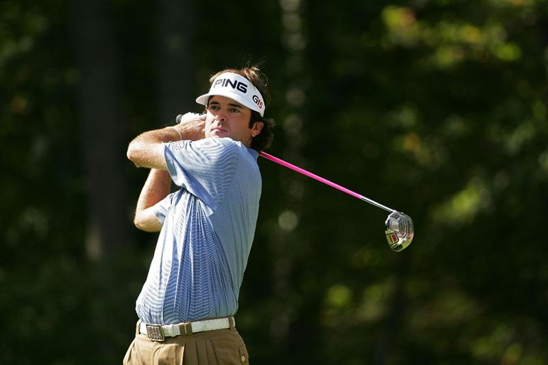 NORTON, MA - SEPTEMBER 07:  Bubba Watson watches his shot during the final round of the Deutsche Bank Championship at TPC Boston held on September 7, 2009 in Norton, Massachusetts.  (Photo by Michael Cohen/Getty Images)