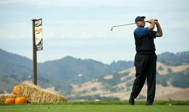 SAN MARTIN, CA - OCTOBER 16:  Rocco Mediate makes a tee shot on the seventh hole during the third round of the Frys.com Open at the CordeValle Golf Club on October 16, 2010 in San Martin, California.  (Photo by Robert Laberge/Getty Images)