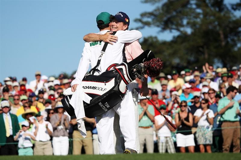 AUGUSTA, GA - APRIL 11:  Tom Watson hugs his son/caddie Mike on the 18th green during the final round of the 2010 Masters Tournament at Augusta National Golf Club on April 11, 2010 in Augusta, Georgia.  (Photo by Andrew Redington/Getty Images)