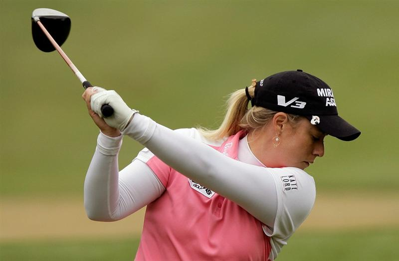 SHIMA, JAPAN - NOVEMBER 07:  Brittany Lincicome of United States plays a shot on the 4th hole during the final round of the Mizuno Classic at Kintetsu Kashikojima Country Club on November 7, 2010 in Shima, Japan.  (Photo by Chung Sung-Jun/Getty Images)