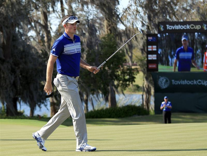 ORLANDO, FL - MARCH 23:  Justin Rose of England and the Lake Nona Team makes a birdie putt at the 18th hole during the second day's play in the 2010 Tavistock Cup, at the Isleworth Golf and Country Club on March 23, 2010 in Orlando, Florida.  (Photo by David Cannon/Getty Images)