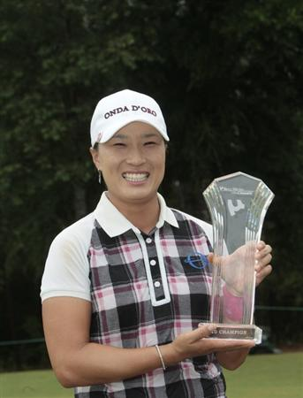 MOBILE, AL - MAY 16: Se Ri Pak of South Korea holds the trophy after winning the Bell Micro LPGA Classic at the Magnolia Grove Golf Course on May 16, 2010 in Mobile, Alabama. Pak beat Suzann Pettersen and Brittany Lincicome in a sudden death playoff after the tournament was shortened to 54-holes. (Photo by Dave Martin/Getty Images)