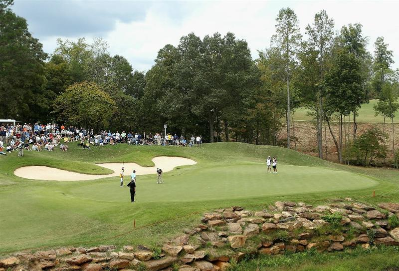 CONOVER, NC - OCTOBER 03:  Bernhard Langer of Germany putts for birdie on the sixth hole green during the final round of the Ensure Classic at the Rock Barn Golf & Spa on October 3, 2010 in Conover, North Carolina.  (Photo by Christian Petersen/Getty Images)