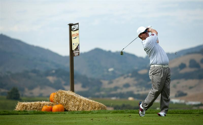 SAN MARTIN, CA - OCTOBER 16:  David Duval makes a tee shot on the seventh hole during the third round of the Frys.com Open at the CordeValle Golf Club on October 16, 2010 in San Martin, California.  (Photo by Robert Laberge/Getty Images)