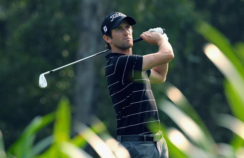 HONG KONG - NOVEMBER 19: Gregory Bourdy of France plays a shot on the 2nd hole during day two of the UBS Hong Kong Open at The Hong Kong Golf Club on November 19, 2010 in Hong Kong, Hong Kong. (Photo by Stanley Chou/Getty Images)