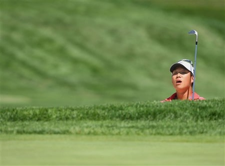 BLOOMFIELD HILLS, MI - AUGUST 06:  Anthony Kim watches his shot during a practice round prior to the 90th PGA Championship at Oakland Hills Country Club on August 6, 2008 in Bloomfield Township, Michigan.  (Photo by Stuart Franklin/Getty Images)