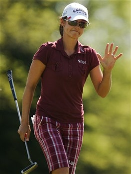 CORNING, NY - MAY 25:   Leta Lindley waves to the gallery on the 18th green during the final round of the LPGA Corning Classic at Corning Country Club on May 25, 2008 in Corning, New York.  (Photo by Kyle Auclair/Getty Images)