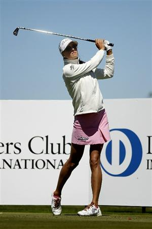PEGASUS, NEW ZEALAND - FEBRUARY 17: Maria Verchenova of Russia plays a shot on the 6th hole during day one of the Women's New Zealand Open at Pegasus Golf Club on February 17, 2011 in Pegasus, New Zealand.  (Photo by Martin Hunter/Getty Images)