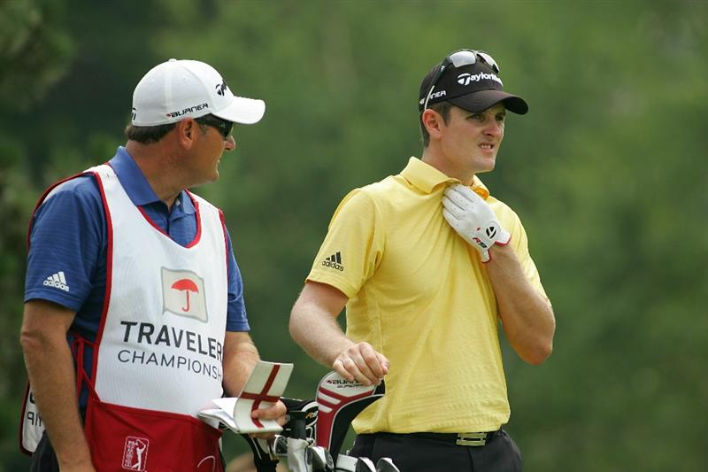 CROMWELL, CT - JUNE 27:  Justin Rose of England prepares to hit his tee shot on the fifth hole during the final round of the Travelers Championship held at TPC River Highlands on June 27, 2010 in Cromwell, Connecticut.  (Photo by Michael Cohen/Getty Images)