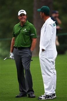 AUGUSTA, GA - APRIL 08:  Phil Mickelson stands with his caddie Steve 'Bones' McKay during the second day of practice prior to the start of the 2008 Masters Tournament at Augusta National Golf Club on April 8, 2008 in Augusta, Georgia.  (Photo by Andrew Redington/Getty Images)