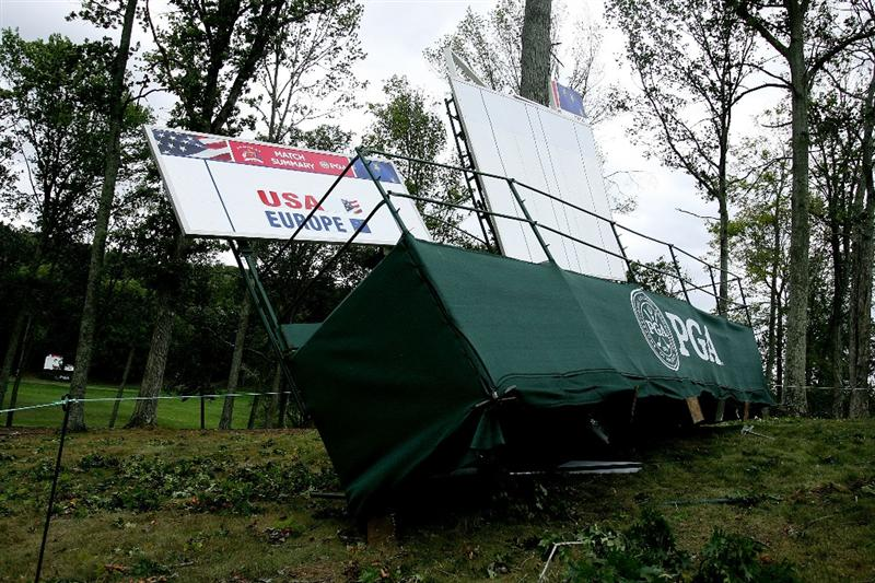 LOUISVILLE, KY - SEPTEMBER 14: Tarps and branches blow in high winds on the course prior to the 37th Ryder Cup at Valhalla Golf Club on September 14, 2008 in Louisville, Kentucky. (Photo by Andy Lyons/Getty Images)