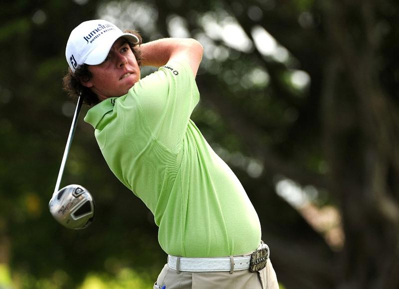DORAL, FL - MARCH 15:  Rory McIlroy of Northern Ireland hits a shot on the second hole during the final round of the World Golf Championships-CA Championship at the Doral Golf Resort & Spa March 15, 2009 in Doral, Florida.  (Photo by Sam Greenwood/Getty Images)
