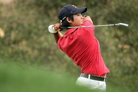 HUIXQUILUCAN, MEXICO - MARCH 16:  Yani Tseng of Taiwan hits her tee shot on the 11th hole during the final round of the MasterCard Classic at Bosque real Country Club on March 16, 2008 in Huixquilucan, Mexico  (Photo by Scott Halleran/Getty Images)
