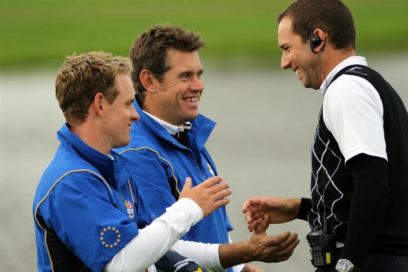NEWPORT, WALES - OCTOBER 03:  Lee Westwood and Luke Donald (L) of Europe chat with Vice Captain Sergio Garcia (R) during the  Fourball & Foursome Matches during the 2010 Ryder Cup at the Celtic Manor Resort on October 3, 2010 in Newport, Wales.  (Photo by Jamie Squire/Getty Images)