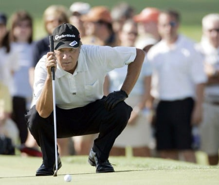 Isao Aoki in action during the third round of the 2005 FORD Senior Players Championship at the TPC of Michigan in Dearborn, Michigan on July 9, 2005.Photo by Gregory Shamus/WireImage.com