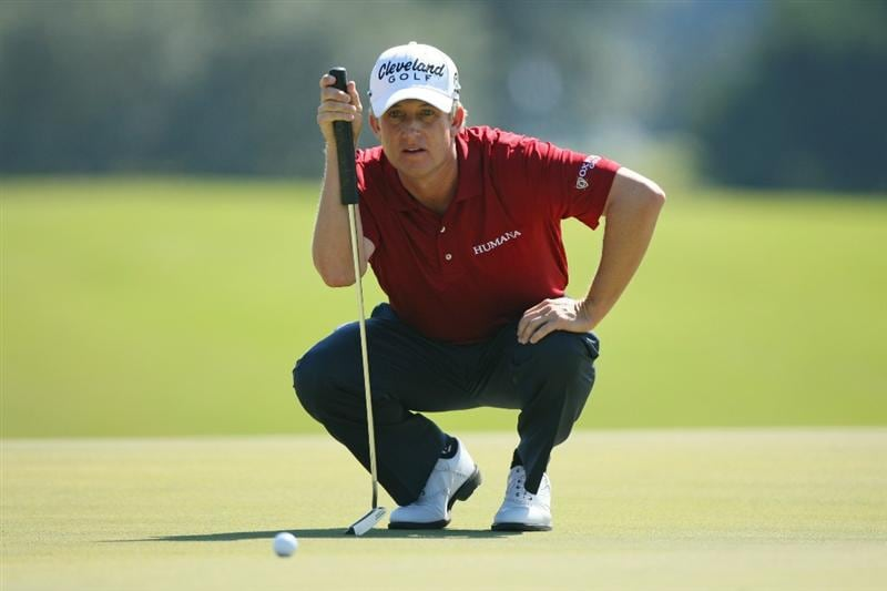 SEA ISLAND, GA - OCTOBER 9: David Toms lines up his birdie putt on the second hole during the third round of the McGladrey Classic at Sea Island's Seaside Course on October 9, 2010 in Sea Island, Georgia. (Photo by Hunter Martin/Getty Images)