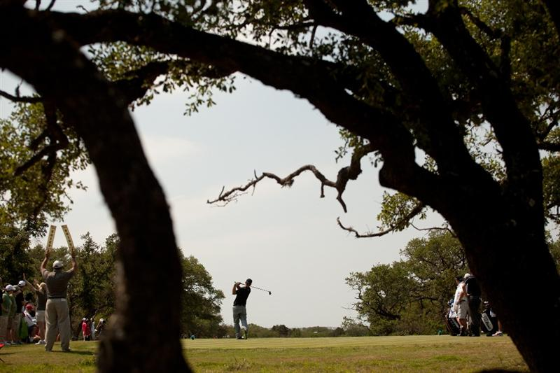 SAN ANTONIO, TX - APRIL 17: Kevin Chappell follows through on a tee shot during the final round of the Valero Texas Open at the AT&T Oaks Course at TPC San Antonio on April 17, 2011 in San Antonio, Texas. (Photo by Darren Carroll/Getty Images)