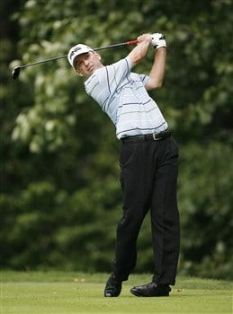 BETHESDA, MD - JULY 4: Kevin Sutherland hits his tee shot on the 14th hole during the second round of the AT&T National at Congressional Country Club on July 4, 2008 in Bethesda, Maryland. (Photo by Hunter Martin/Getty Images)