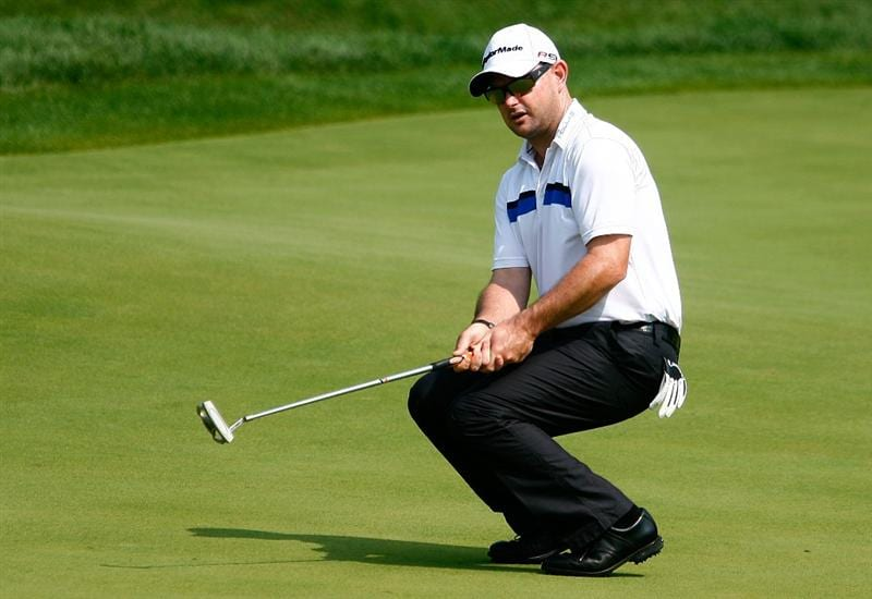 LEMONT, IL - SEPTEMBER 11:  Rory Sabbatini of South Africa reacts to a missed birdie putt on the 14th green during the second round of the BMW Championship held at Cog Hill Golf & CC on September 11, 2009 in Lemont, Illinois.  (Photo by Scott Halleran/Getty Images)