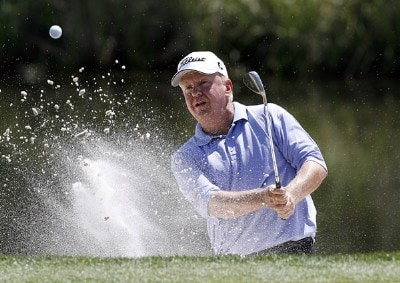 Billy Mayfair blasts out of a bunker around the 17th green during the first round of the 2006 Verizon Herizon Heritage Classic Thursday, April 13, 2006, at Harbour Town Golf Links in Hilton Head Island, South Carolina.Photo by Kevin C.  Cox/WireImage.com