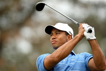 SAN DIEGO - JUNE 12:  Tiger Woods tees off the second hole during the first round of the 108th U.S. Open at the Torrey Pines Golf Course (South Course) on June 12, 2008 in San Diego, California.  (Photo by Ross Kinnaird/Getty Images)
