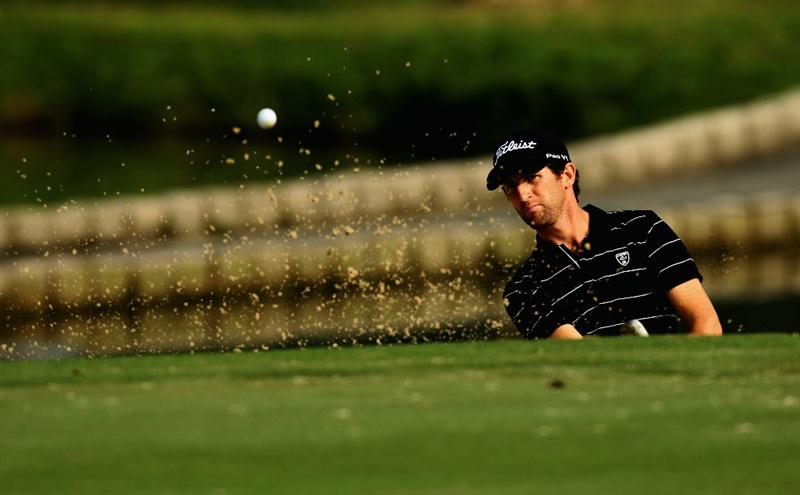 HONG KONG - NOVEMBER 19: Gregory Bourdy of France plays a bunker shot on the 1st hole during day two of the UBS Hong Kong Open at The Hong Kong Golf Club on November 19, 2010 in Hong Kong, Hong Kong. ( Photo By : Stanley Chou/Getty Images )
