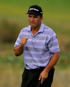 PALM BEACH GARDENS, FL - MARCH 1:  Jose Coceres of Argentina reacts to a birdie on the 11th hole during the third round of the Honda Classic at PGA National Resort and Spa March 1, 2008 in Palm Beach Gardens, Florida.  (Photo by Sam Greenwood/Getty Images)
