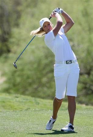 PHOENIX - MARCH 28:  Suzann Pettersen of Norway tees off on the seventh hole during the third round of the J Golf Phoenix LPGA International golf tournament at Papago Golf Course on March 28, 2009 in Phoenix, Arizona.  (Photo by Christian Petersen/Getty Images)