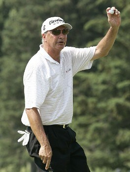 Don Pooley of Tucson, Arizona reacts after hitting a birdie on 8 during the final round of the 2005 Bank of America Championship at Nashawtuc Country Club in Concord, Massachusetts, Sunday, June 26, 2005.  Mark McNulty won the match with a score of 12-under-par 204 after defeating Pooley and Tom Purtzer in overtime, playoff competition .Photo by Jim Rogash/WireImage.com