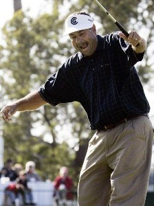 Brad Bryant reacts to making a winning birdie putt on the 18th hole during the final round of the Toshiba Classic, March 19, 2006, held at Newport Beach Country Club, Newport Beach, California.Photo by Gregory Shamus/WireImage.com