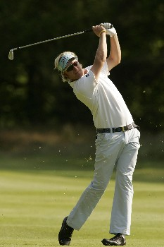 Mikko Ilonen watches his approach shot to the green during the first round of the 2005 KLM Open at Hilversumsche Golf Club. June 9, 2005Photo by Pete Fontaine/WireImage.com